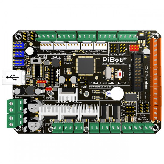 PiBot Controller Board Rev2.0 (CNC and 3D Printer 2 in 1)